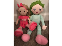 2 x Dolls: Green white striped Doll Back pack & Pink Rag Doll
