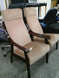 Beige Fire Side High Back Arm Chairs