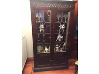 Old Charm Dark Oak Display Cabinet