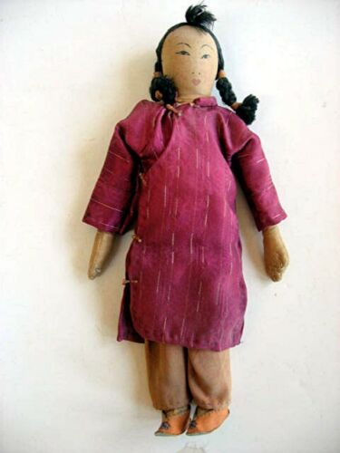 """Vintage 10"""" Asian / Chinese Cloth doll painted features mitt hands"""