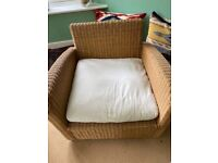 Three piece wicker conservatory sofa and chairs