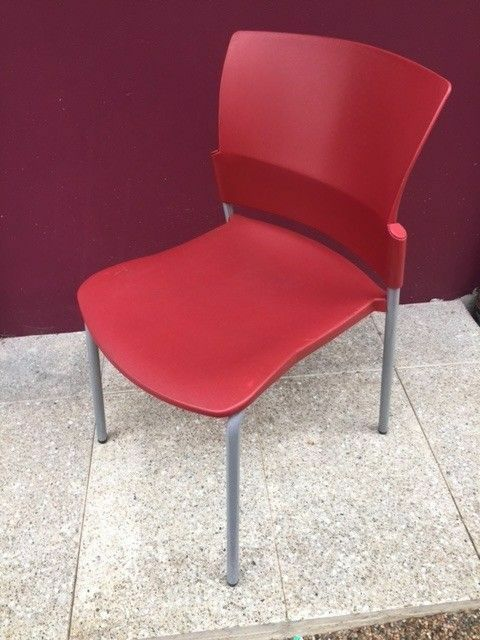 Modern red stacking chair