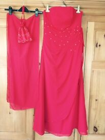 Bridesmaid / Prom dress with matching shawl and wrist bag