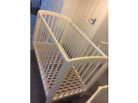 John Lewis Cot - white, wooden and in great condition, with drop down side