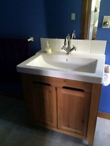 IKEA bathroom sink, cabinet and faucet