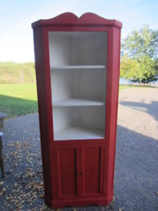Red Painted Pine Corner Cupboard