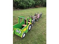 Children's tractor and cart train set