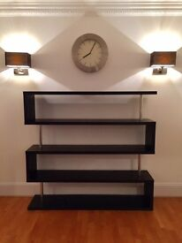 Black and silver open shelves contemporary wall unit