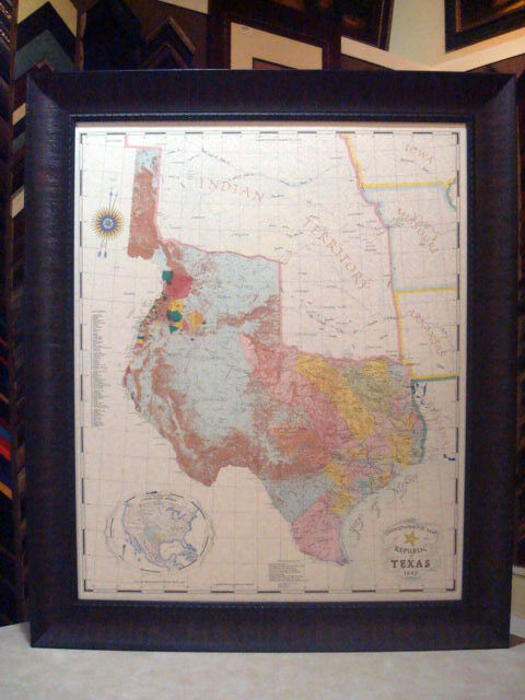 1845 REPUBLIC OF TEXAS MAP FRAMED