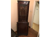 Mahogany Corner Display Cabinet with lockable cupboard, lockable glazed with glass shelves