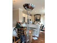 Halogen floor lamp, silver chrome - great condition