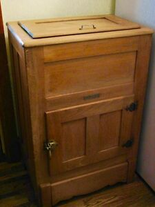 Antique Farmhouse Kitchen Arctic Ice Box Solid Ash Wood Original Kitchener / Waterloo Kitchener Area image 4
