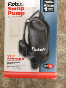 Sump Pump (Flotec)- Automatic Submersible 2880GPH 1/3HP