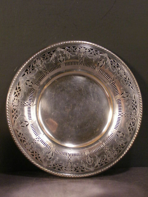 ~LG 1900 Rogers Silver Reticulated Charger Platter Hallmarked Dinner Plate Tray~