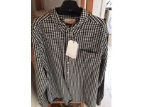 Toast Double Faced Check Shirt Black/Off White (Large)