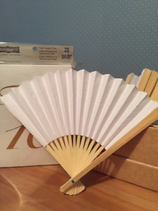 White Paper Fans with Wooden Handle