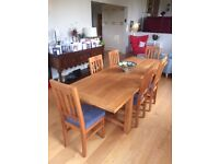 Oak Extending Dining Room Table and Six Chairs
