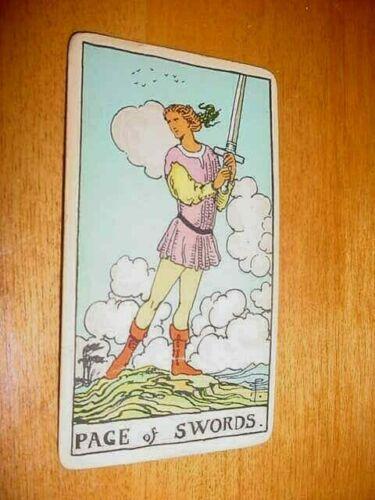 SINGLE VINTAGE TAROT CARD PAGE OF SWORDS