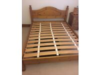 King size hypnos pine bed in good condition.