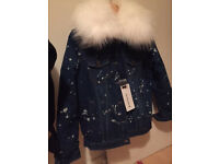REAL RACCOON FUR WHITE COLLAR JEAN JACKET WITH FLECCE DETACHABLE LINING