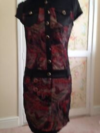 Butterfly / fantasy print satin and mesh dress