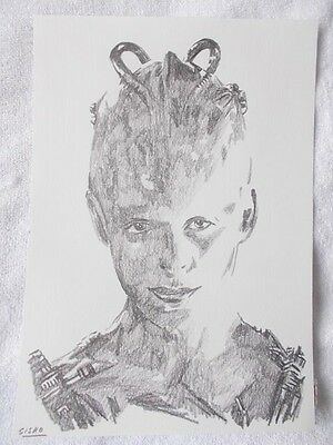 A4 Art Graphite Pencil Sketch Drawing Alice Krige as Borg Queen from Star Trek