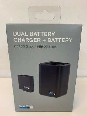 GoPro Dual Battery Charger +Additional Battery Hero 5 6 7 Black Camera AADBD-001