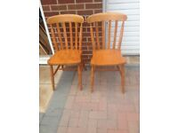 2x solid wood dining chairs