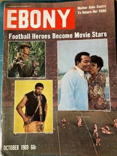 Vintage Ebony Magazine Oct 1969 Football Heroes Become Movie Stars