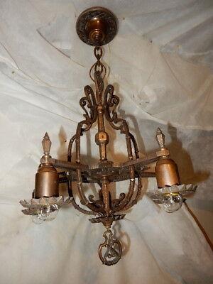 Arts & Crafts Spanish Revival Hammered Cast Bronze Pendant Hanging Fixture Chand Arts & Crafts Bronze Chandelier