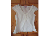 Monsoon cap sleeve white cotton top/blouse. Size 12. Nice and cool for summer! £4 ovno.