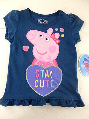 Peppa Pig T-Shirt Toddler Girls Size 3T Short Sleeve Navy Stay Cute NEW (Peppa Pig Toddler Clothes)