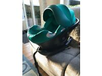 Cybex Aton Q Teal/Green Group 0 First Size Baby Car Seat & Isofix Base - Very Good Condition