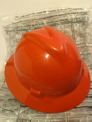 Msa V-gard Plastic Hard Hat Unused Orange Type 1 Class E With Fas-trac Iii Rat