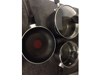 Big kitchen package: plates, bowls, frying pan, sauce pans, chopping board, glasses, mug, trays...
