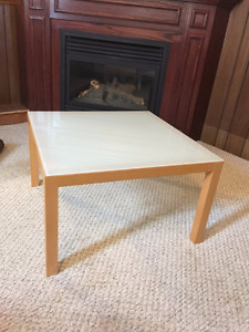square coffee table, modern, wood and opaque glass