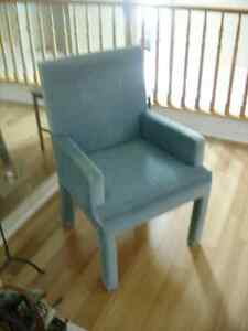 Pale blue velvet(?) captains dining chairs