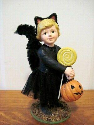 "Bethany Lowe NEW Halloween ""Kat"" Black Cat Girl Figure"