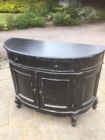 Black distressed painted unit with drawer and cupboard
