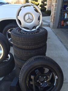 Michelin x-ice winter tires and original mercedes steel rims Kitchener / Waterloo Kitchener Area image 1