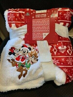 Disney Holiday Mickey & Minnie Mouse on Reindeer Fleece Throw Plaid Polaire NEW