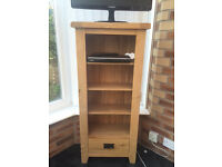 Solid Oak Bookcase/TV Unit with drawer