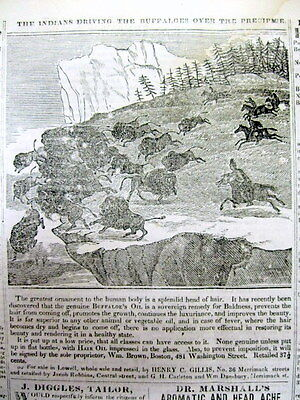 1837 newspaper w Early engraving BUFFALO JUMP HUNTING by Native American Indians