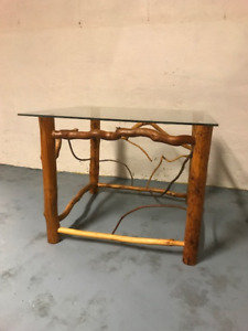 Handcrafted Twig End Table w/Glass Top