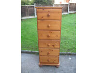 Antique Pine Style Chest of Drawers - Tall, Narrow