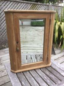 Antique corner pine cabinet