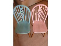 2 painted pine chairs