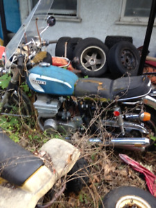 various older motorcycles and parts