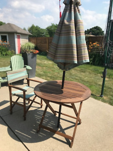 patio teak table and umbrella-4 chairs