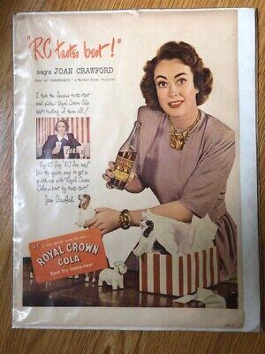 Vintage Royal Crown Cola Joan Crawford Ad 1947 Good Condition